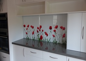 Red Flowers Kitchen Glass Splashback Design