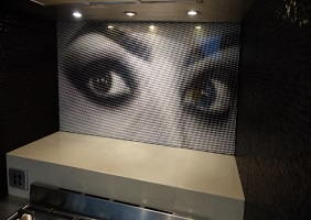 "The ""eyes have it"" kitchen glass splashback installation in Annandale"