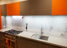 Banksy's Balloon girl featured on a Kitchen Glass Splashback