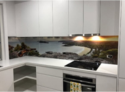 beach photo printed on kitchen glass splashback