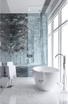 Bathroom with printed forest glass splashback