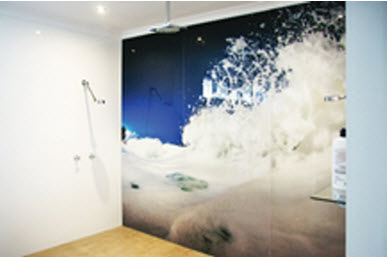 seascape themed bathroom glass splashbacks