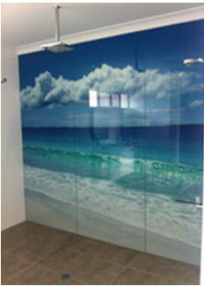 beach scene bathroom glass splashback