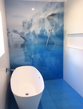 Iceberg image on bathroom glass splashback