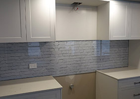 Brick Pattern Kitchen Glass Splashback Installation