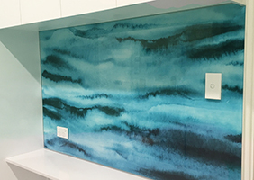 Abstract blue Kitchen Glass Splashback for a new Lane Cove kitchen